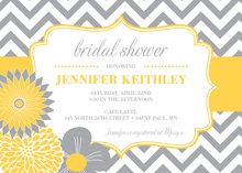 Modern Yellow Grey Flowers Chevron Shower Invitations