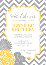Vertical Yellow Grey Flowers Chevron Shower Invitations