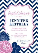 Vertical Navy Pink Floral Chevron Shower Invitations