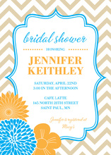 Vertical Blue Orange Flowers Chevron Shower Invitation