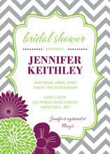 Vertical Purple Green Flowers Chevron Shower Invitation