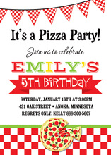 Traditional Pizza Party Oilcloth Banner Invitations