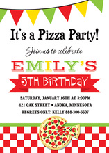 Pizza Party Multicolored Banner Invitations