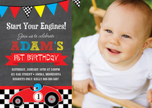 Red Race Car Chalkboard Photo Birthday Invitations