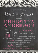 White Lace Over Chalkboard Party Invitations