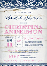 Coordinated Navy Lace Over Birch Bridal Invitations
