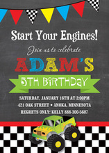 Green Monster Truck Chalkboard Boy Birthday Invitation