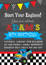 Blue Monster Truck Chalkboard Boy Birthday Invitations