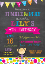 Dots Gymnastics Girl Chalkboard Birthday Invitations