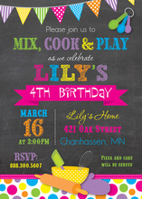 Bright Dots Cooking Theme Chalkboard Invitations