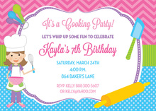 Girly Pattern Cooking Birthday Party Invitations