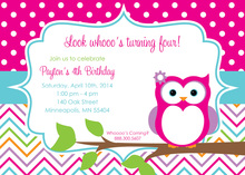 Cute Owl with Dots and Chevron Birthday Invitations