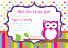 Cute Owl with Dots and Stripes Birthday Invitations