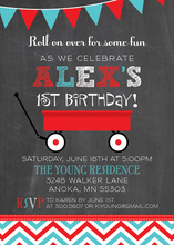 Little Red Wagon Chalkboard Birthday Party Invitations