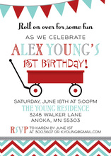 Little Red Wagon In White Birthday Invitations