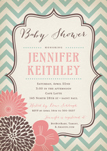 Vintage Pink Brown Flowers Aqua Chevron Invitations