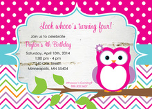 Cute Owl with Birch Chevron Birthday Party Invitations