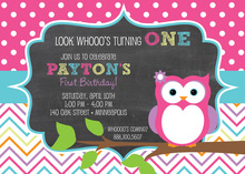 Cute Owl Chalkboard with Polka Dots Chevrons Invites