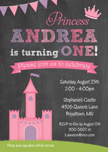 Pink Princess Castle Chalkboard Birthday Invitations