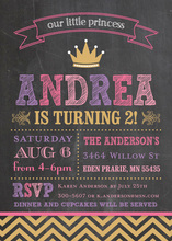 Our Little Princess Chalkboard Birthday Invitations