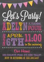 Party Poster Style Chalkboard Birthday Invitations