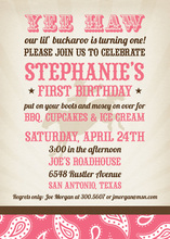 Fantastic Buckaroo Birthday Pink Party Invitations
