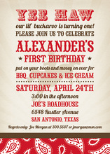 Sophisticated Buckaroo Birthday Red Invitations