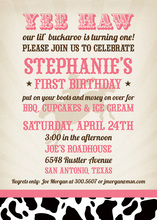 YEE HAW Wild Cowgirl Pink Birthday Invitations