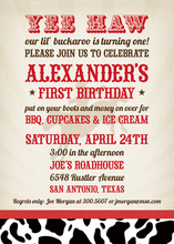 Wild Cowboy Red YEE HAW Birthday Invitations