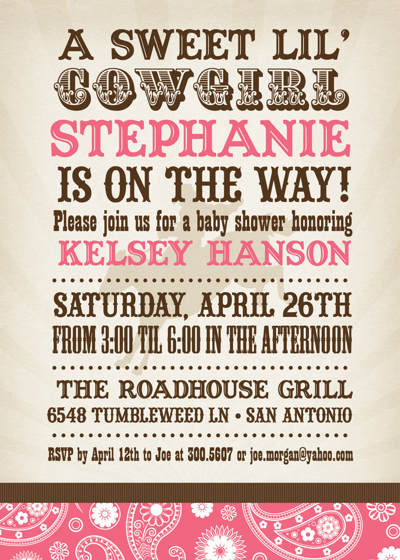 Sweet Bandana Cowgirl Pink Invitations