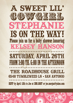 Sweet Bandana Cowboy Blue Invitations