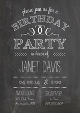 Chalkboard And Chevron Birthday Party Invitations