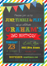 Brawny Stripe Frame Chalkboard Birthday Invitations