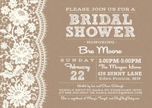White Lace Kraft Graphic Background Bridal Invitations