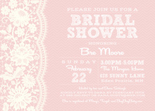 White Lace On Pink Chevrons Bridal Shower Invitations