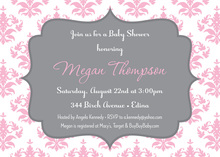 Pink Damask Grey Frame Invitations
