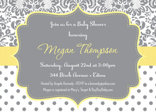 Pastel Yellow Floral Damask Polka Dots Invitation