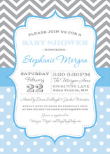 Grey Chevrons Blue Polka Dots Invitation
