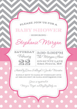 Grey Chevrons Pink Polka Dots Invitation