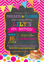 Bright Pancakes Pajamas Chalkboard Birthday Invitations