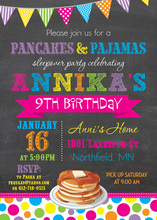Delicious Pancakes Chalboard Birthday Invitations