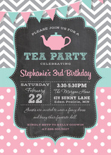 Chevrons Polka Dots Tea Party Chalkboard Invitations