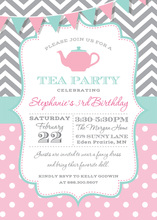 Chevrons Polka Dots Tea Party Banner Invitations