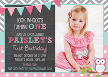 Chevrons Pink Polka Dots Owl Chalkboard Photo Invites