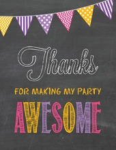 Bright Party Poster Thank You Notes