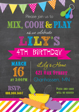 Bright Stripes Cooking Theme Chalkboard Invitations