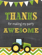 Green Tractor Chevrons Thank You Notes