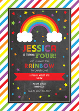 Rainbows Cloud Stars Chalkboard Birthday Invitations