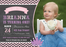 Modern Pink Purple Princess Chalkboard Invitations