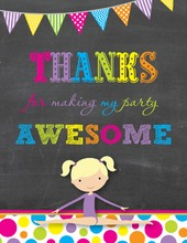Bright Dots Blonde Girl Chalkboard Thank You Notes